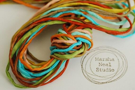Skinny Silk Ribbon Cord Bundle Item No.234 Contains Ten 2mm Silk Ribbons Random Colors