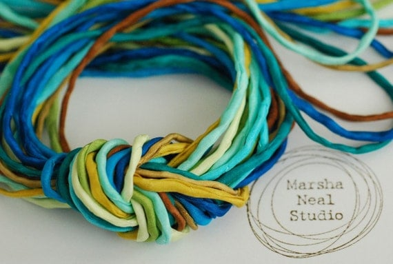 Skinny Silk Ribbon Cord Bundle Item No.239 Contains Ten 2mm Silk Ribbons Random Colors