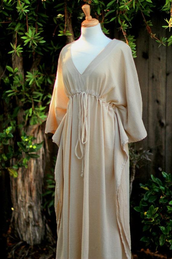 Caftan Maxi Dress - Beach Cover Up Kaftan in Natural Cotton Gauze - 20 Colors