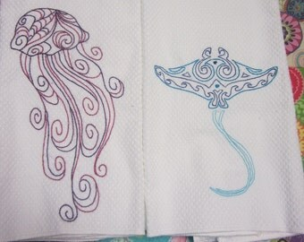 Jellyfish and Stingray dish towels