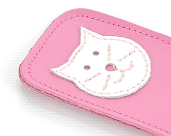 Mally Designs Leather Kitty Bookmark, White Cat on Pink with Whiskers and Smile Details