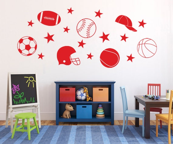 Sports decals, Kids wall stickers for boys, Sports stickers, Removable vinyl wall decals, Football decals, Soccer stickers DB251