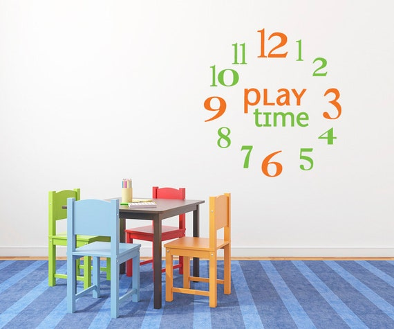 Children's Wall Art Clock Sticker  DB175