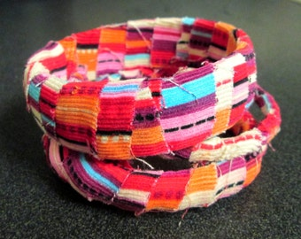 Multicolored Fabric Wrapped Bangle Bracelet