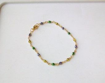 Mardi Gras Czech Crystal Wire Wrapped Chain Link Anklet - Ankle Bracelet