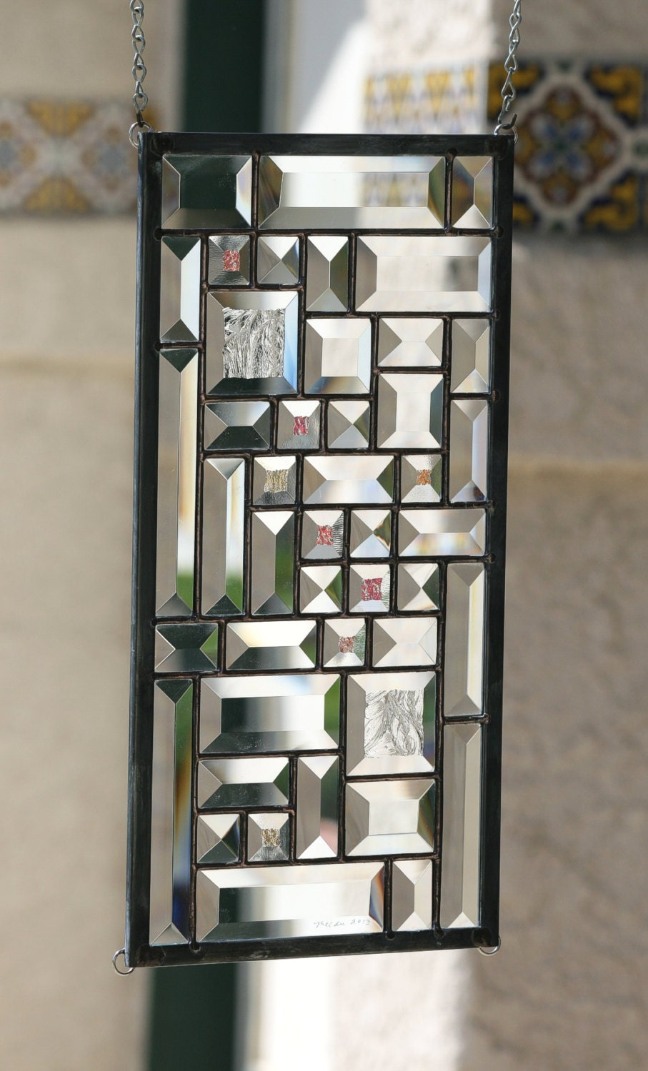 Clear Leaded Glass : Starlight clear beveled stained glass window panel small