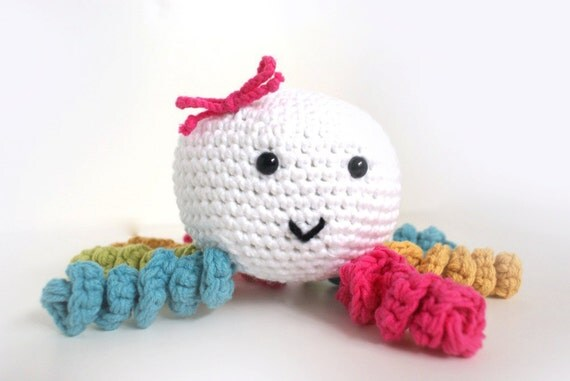 Girly Crocheted Octopus Rattle