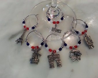 French France Eiffel Tower Arc De Triumph  Wine Charms