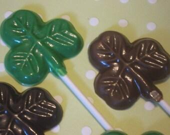 One dozen small shamrock lollipop sucker party favors