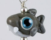 Adorable Little Sharkie Shark Lampworked Glass Necklace