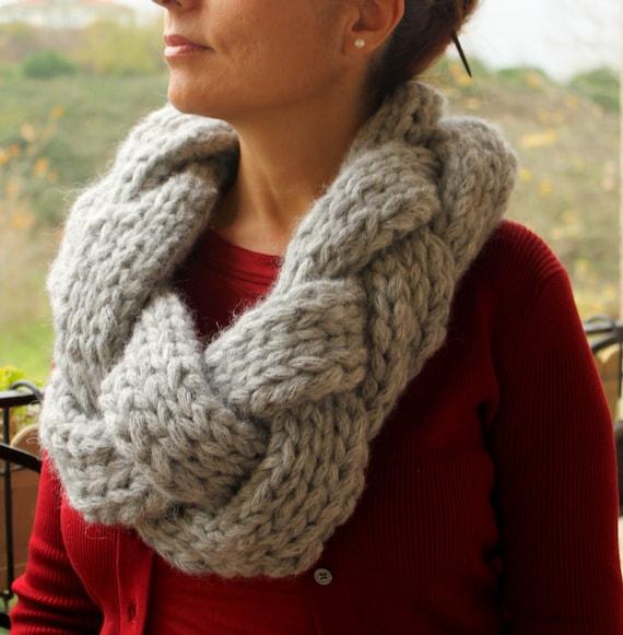 Knitting Pattern Braided Scarf : Items similar to Oversized Knit Scarf / Infinity Scarf / Braided Scarf / Grey...