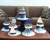 Beach Nautical  Whale Sailing Baby Shower Centerpiece Diaper Cakes other colors and sizes too