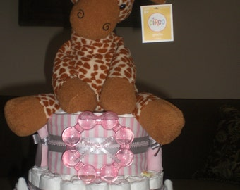 Giraffe Safari Diaper Cake Jungle Boogie Girl  Baby shower gift or centerpiece other animals available