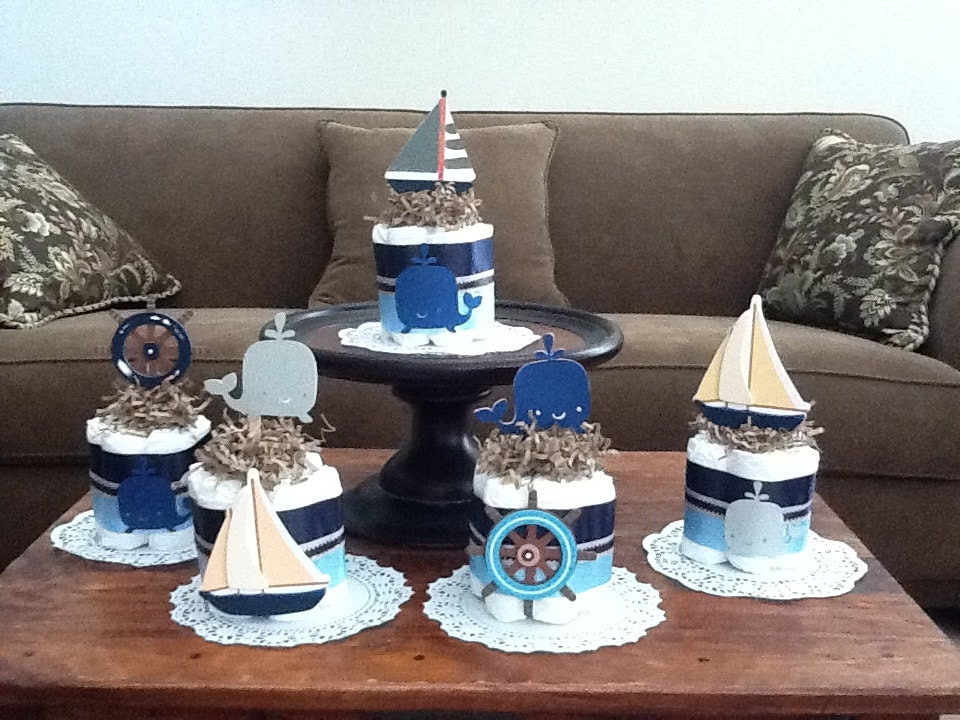 beach nautical whale sailing baby shower centerpiece diaper