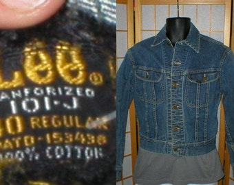 Vintage 80s American made blue jean jacket by Lee mens size medium
