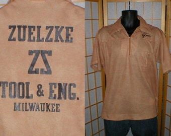 vintage 70s tan polyester King Louie bowling shirt mens size large