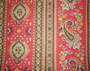 1 3/8 yards 46 wide Vintage 60s medium weight cotton paisley print fabric by Waverly