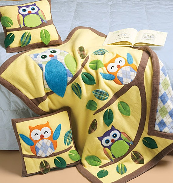 FLEECE BLANKET PATTERN / Make Fleece Quilt or Blanket and Pillow with Owl Appliques