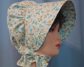 Sun Bonnet - Pioneer Costume - Cotton Floral Print in Blue and Yellow - Frontier SASS - Ladies Size