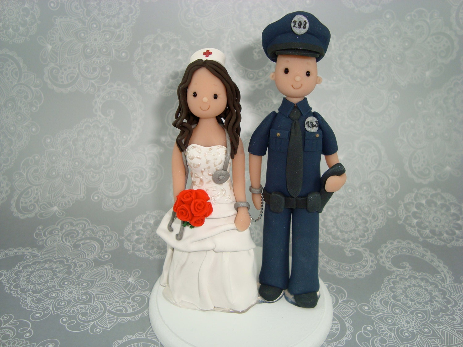 Policeman Amp Nurse Personalized Wedding Cake Topper By Mudcards