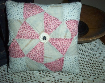 Primitive Vintage Quilt Pillow,Old Double Pink,Cupboard Tuck