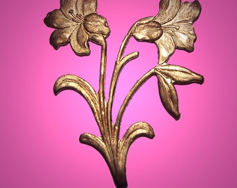 Vintage Brass Lily Stampings 45X39MM   J4R