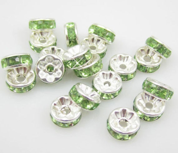 Vintage Lot of 10 Peridot Colored Crystal 9MM Spacer Beads GR8