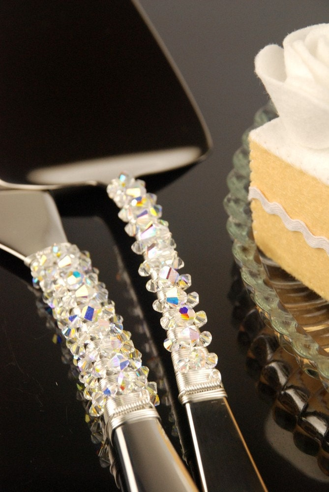 swarovski crystal wedding cake server set knife beaded wire