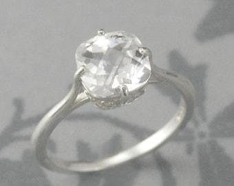 Antique Cushion Cut Flourish Engagement Ring-Sterling Silver - Faux Diamond-Checkerboard cut Cubic Zirconia-Custom Sized-Simple Silver Band