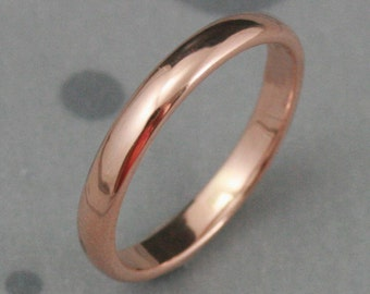 Half Round Band~3mm Wide Ring~Men's Wedding Band~14K Rose Gold Band~Plain Jane~Traditional Ring~Simple Wedding Ring~Modern Band~14K Gold