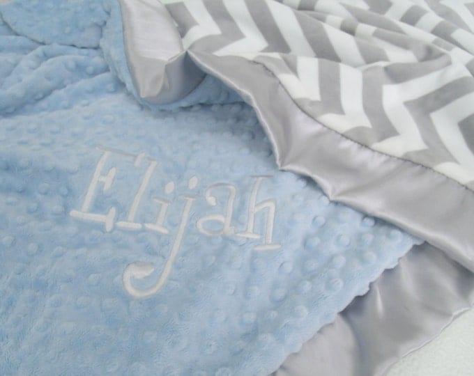 Gray Chevron With Blue Minky Baby Blanket