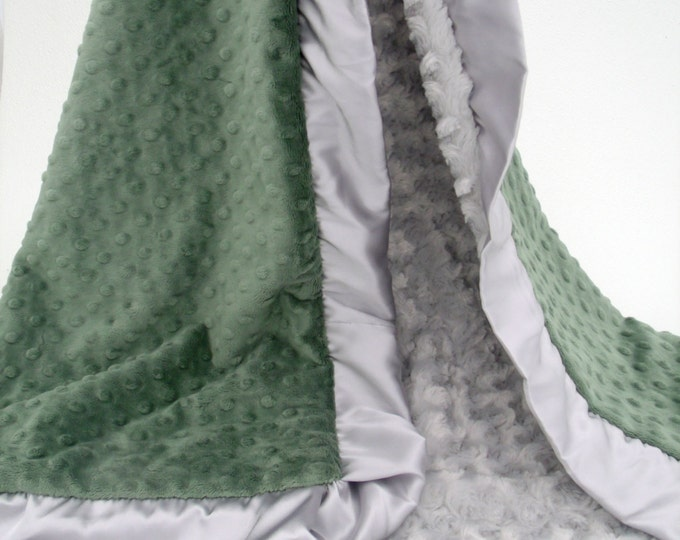Olive Green and Silver Gray Minky Blanket Can Be Personalized