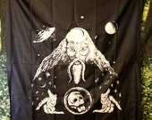 "Vtg 90's SPACE WIZARD Large Black Tapestry 40"" x 45"""