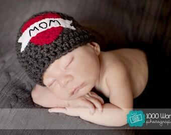 Mom tattoo hat. Valentine Crochet baby hat.
