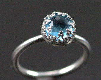 Rose Cut Blue Topaz Ring - Sterling Ring with Crown Set 8 mm Stone of Your Choice, Custom Bands