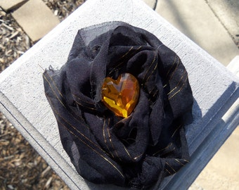 Black and Gold Fabric Flower Hair Clip