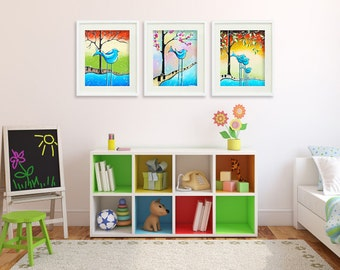 Set of 3 Baby Birds PRINTS, Baby Boy, Colorful Nursery Art, Children's Pictures, Whimsical Kid's Wall Art