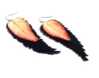 Feather earrings. Dangle leather earrings. Leather jewelry