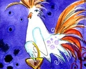 Chicken Colorful Vermont Watercolor Greeting Card Archival Print