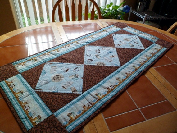 SALE Coffee quilt table runner 20 in. x 43 in. by QuiltingDiva