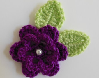 Crocheted Flower with Leaves - Magenta and Green - Acrylic Yarn Embellishment - Flower and Leaves Appliques