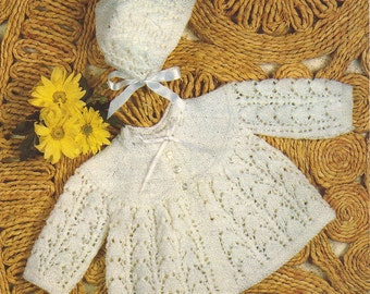 "PDF Knitting Pattern Baby Matinee Coat and Bonnet to fit sizes 17-19"" (Z234)"