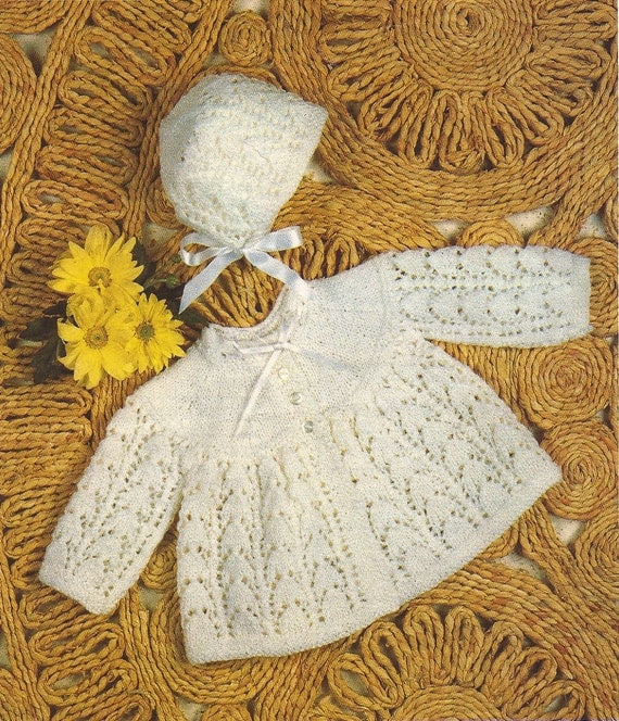 PDF Knitting Pattern Baby Matinee Coat and Bonnet to fit sizes