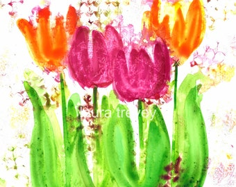 Bright Tulips Watercolor Print