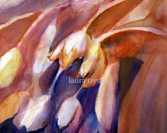 Cascading Tulips Watercolor Print