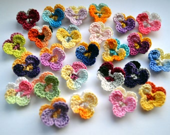 Crochet flowers pansies crochet pansy appliques tiny 25 bestseller