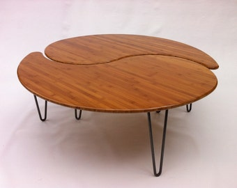 Yin Yang Nesting Large Round Coffee Table - Mid-Century Modern - Atomic Era Design In Bamboo - Comes as a Pair of Two