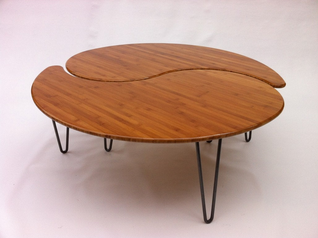 Yin yang nesting large round coffee table mid century modern for Round stacking coffee table