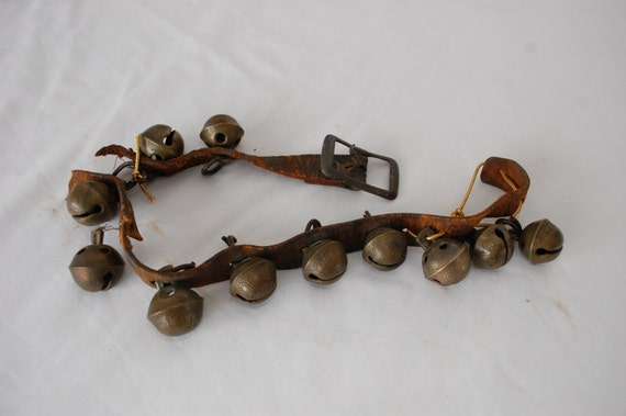 Vintage SLEIGH BELLS brass set of 11 leather belt antique