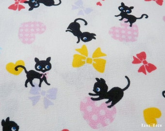 "Scrap / Japanese Fabric - Black Cats Heart and Bow on Off-white - 110cm/43""W x 53cm/20.8""L  (13u0220)"